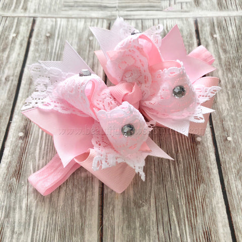 Small Newborn Pink and White Bow, Newborn Baby Headband