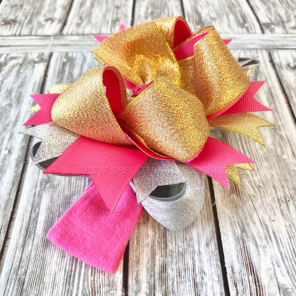 Buy Metallic Hair Bow, Hot Pink Silver and Gold Metallic Baby Headband Online