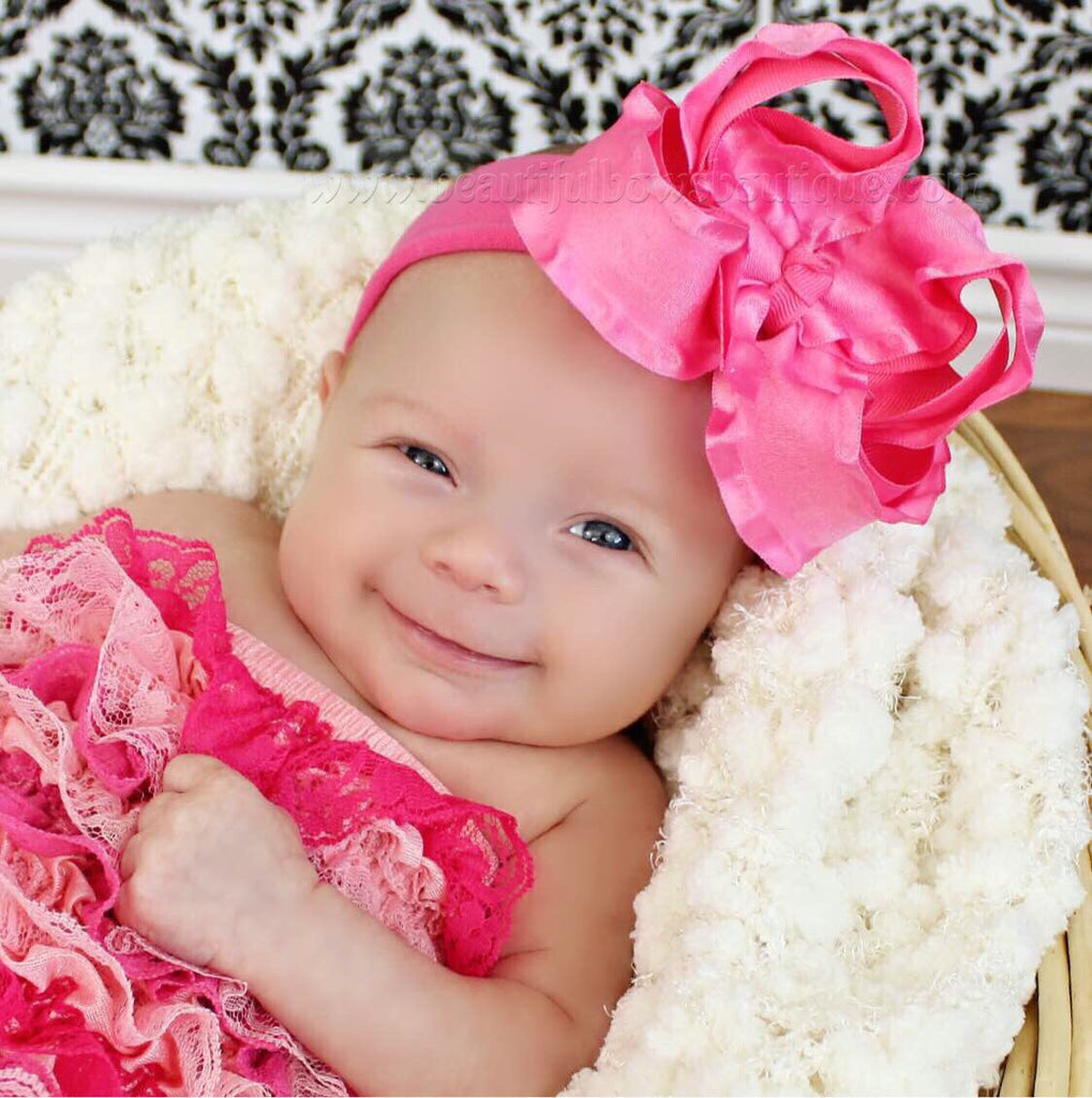 Buy Large Hot Pink Ruffled Hair Bow Baby Headband- CHOOSE COLOR Online