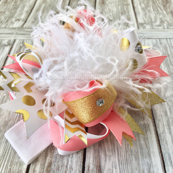 Coral and Gold Over the Top Hair Bow,Gold and Coral Baby Headband,OTT Bows