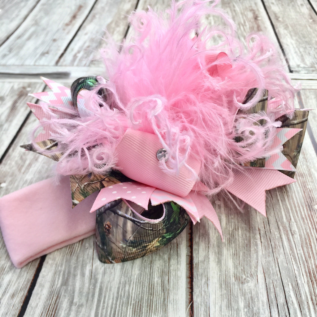 Pink Camo Hair Bow,Realtree Camo Headband,Camouflage Baby Headband,Over the Top Bows Realtree
