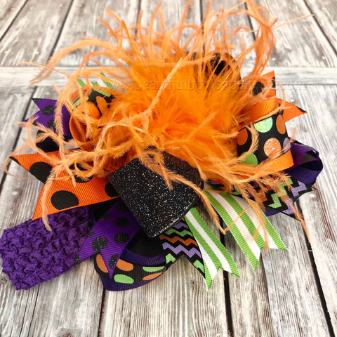 Buy Over the Top Halloween Bow Purple Black Green Orange, Big Halloween Bow Headband Online