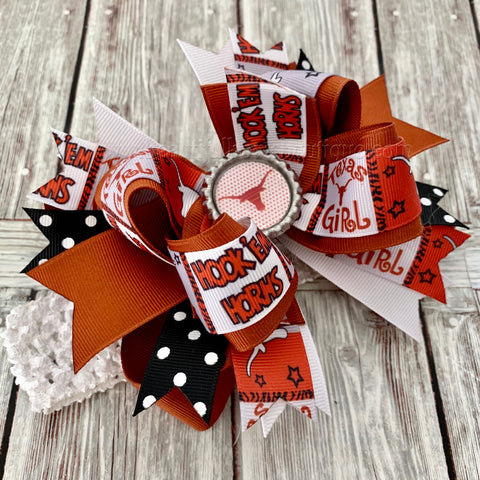 Texas Longhorns Hairbow, Longhorns Baby Headband