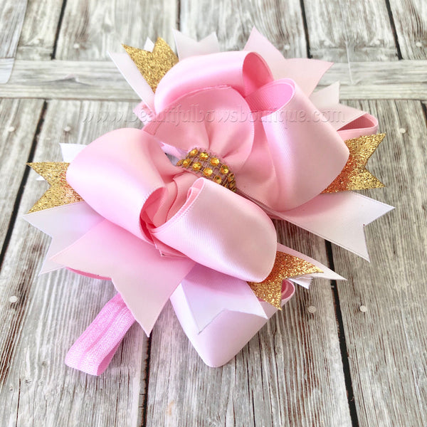 Buy Pink Blush and Gold Hair Bow, Satin Hair Bow,Girls Hairbows Online