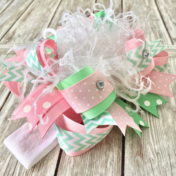 Pink and Mint Over the Top Hair Bow,Mint and Pink Bow Headband,Easter Bows