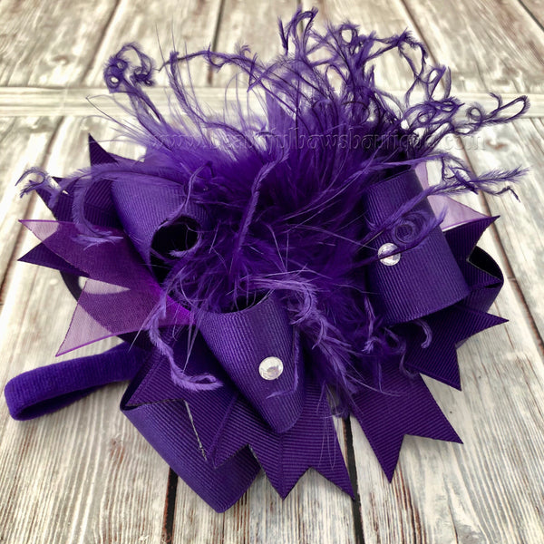 Small Purple Newborn Over the Top Bow Headband,Mini Over the Top Bows