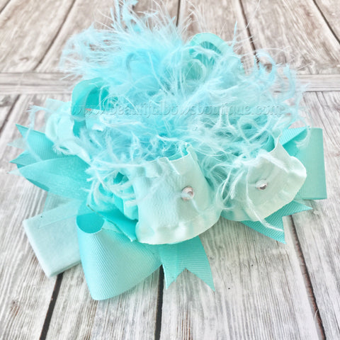 Solid Aqua Over the Top Hair Bow Baby Headband,Turquoise,Mint, Aqua Blue
