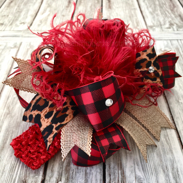 Buffalo Plaid Hair Bow Burlap Leopard, Burlap Cheetah Buffalo Plaid Over the Top Hair Bow
