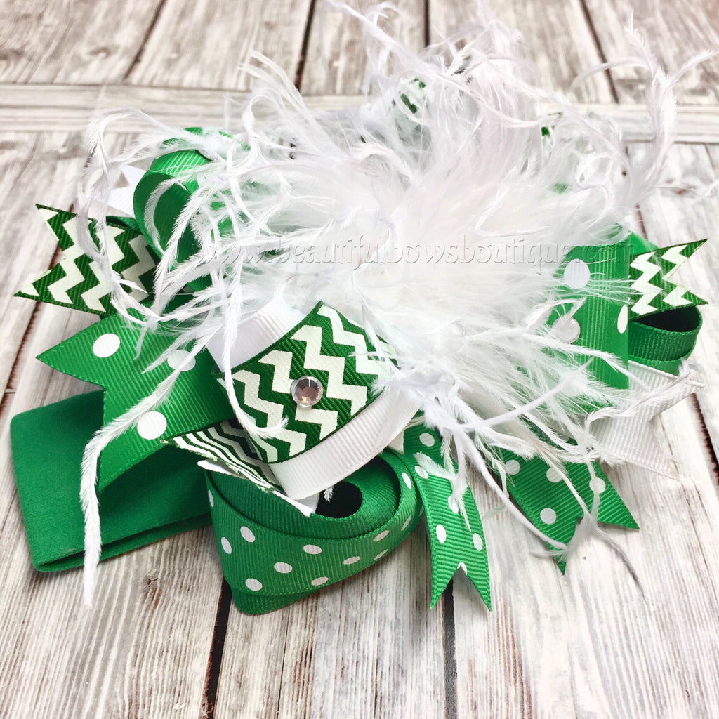 Buy Green and White Over the Top Hair Bow,OTT Bows, Baby Headbands Online