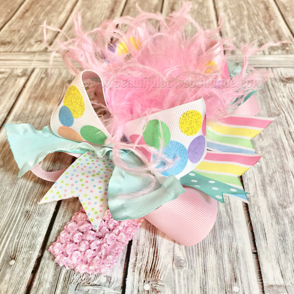 Buy Easter OTT Bows, Over the Top Bows Easter, Pastel Easter Bows, Spring Hair Bows, Stacked Easter Bows, Pink Green Yellow Blue Easter Headband Online