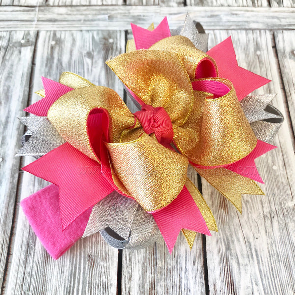 Metallic Hair Bow, Hot Pink Silver and Gold Metallic Baby Headband