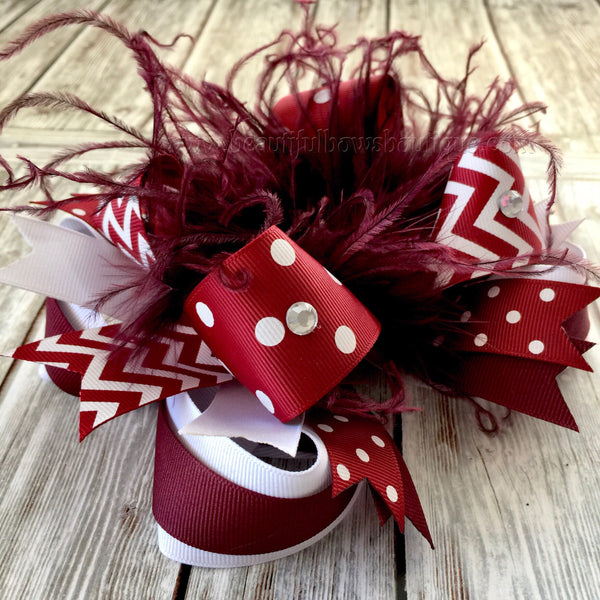 Buy Maroon and White Hair Bow, School Bow, White and Maroon Online