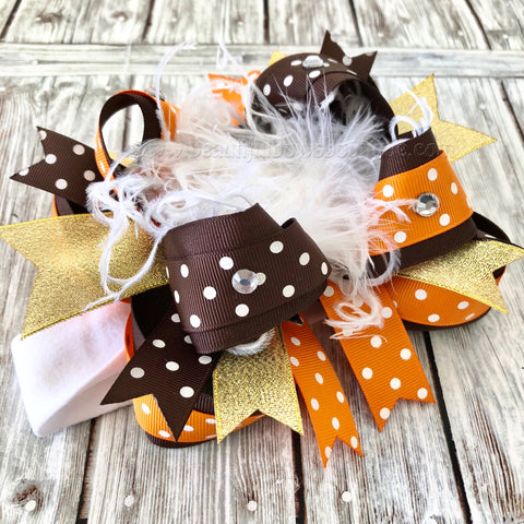 Brown and Orange Big Fall Hair Bow, Fall Bow Headband for Babies