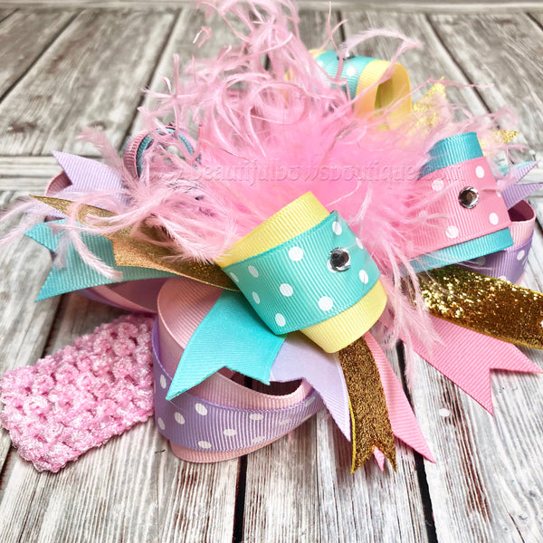 Over The Top Bow Pink Lavender Aqua Yellow Gold, OTT Bow Headband, Over the Top Bows