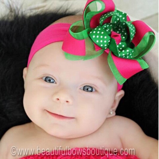 Dainty Shocking Pink and Green Swiss Dot Girls Hair Bow Clip or Headband