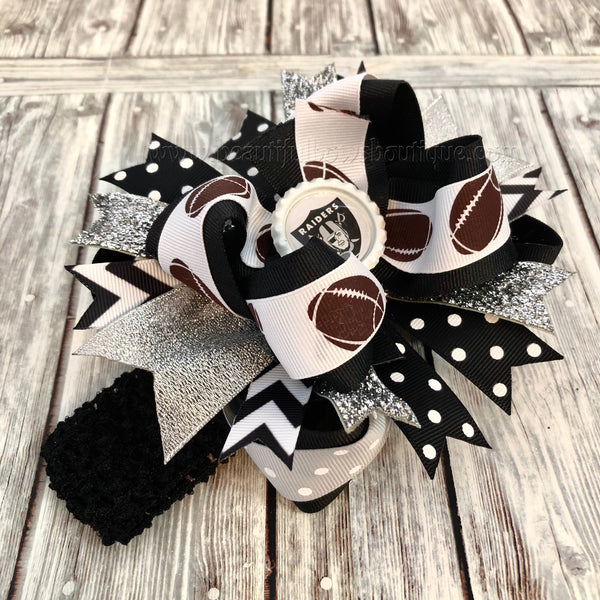 Oakland Raiders Baby Headband, Oakland Raiders Hair Bow Clip