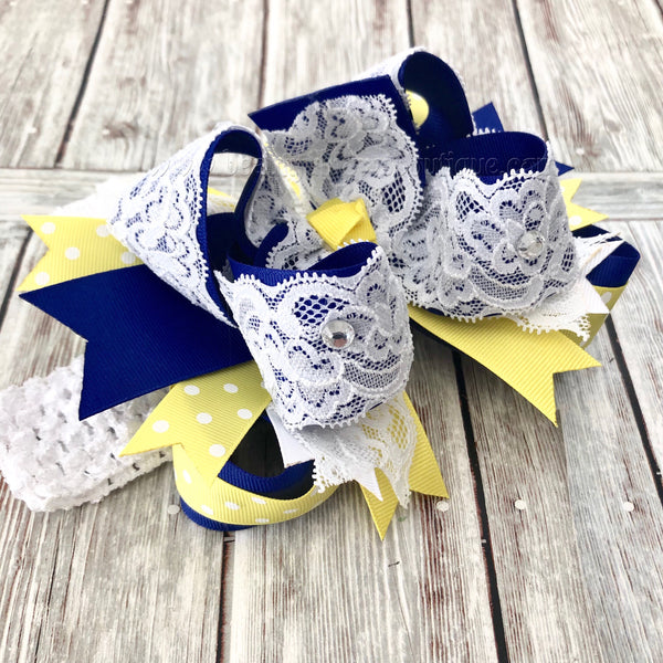 Buy Royal Blue and Yellow Easter Hair Bow,White Lace Blue and Yellow Bow Online