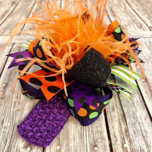 Over the Top Halloween Bow Purple Black Green Orange, Big Halloween Bow Headband