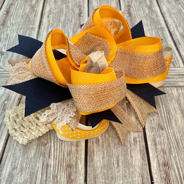 Over the Top Hair Bow Mustard Burlap Ivory Navy,Fall Over the Top Hairbow