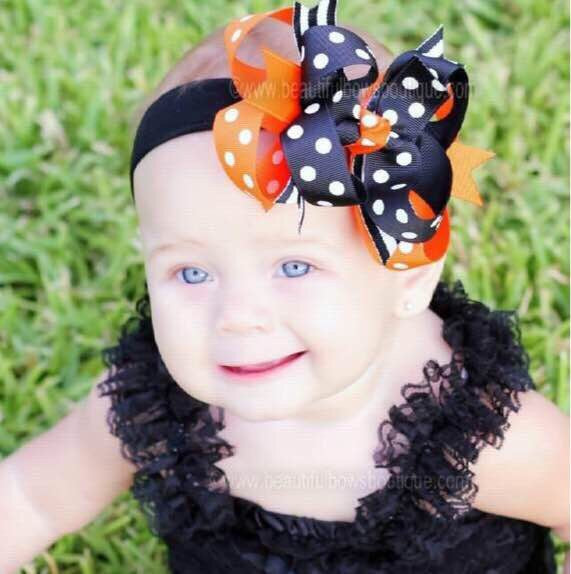 Halloween Baby Headband Black Orange Polka Dot Knit Headband
