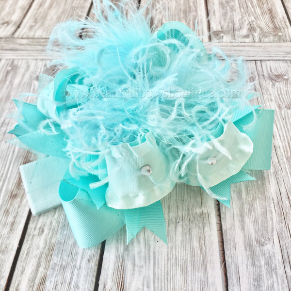 Buy Solid Aqua Over the Top Hair Bow Baby Headband,Turquoise,Mint, Aqua Blue Online