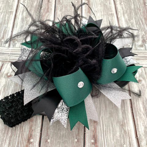 Over the Top Bows Silver Black Dark Green, Forest Green and Black Baby Headband