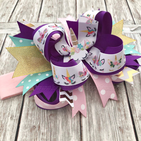 Pink and Purple Unicorn Hair Bow, Unicorn Headband, Unicorn Birthday Party