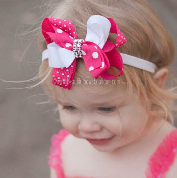 Dainty Shocking Pink and White Twist Girls Hair Bow Clip or Headband