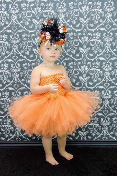 Big Party Over the Top Halloween Orange Black Hair Bow Clip or Headband