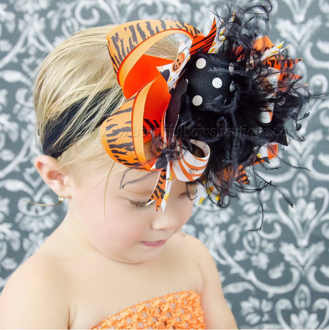 Buy Big Party Over the Top Halloween Orange Black Hair Bow Clip or Headband Online