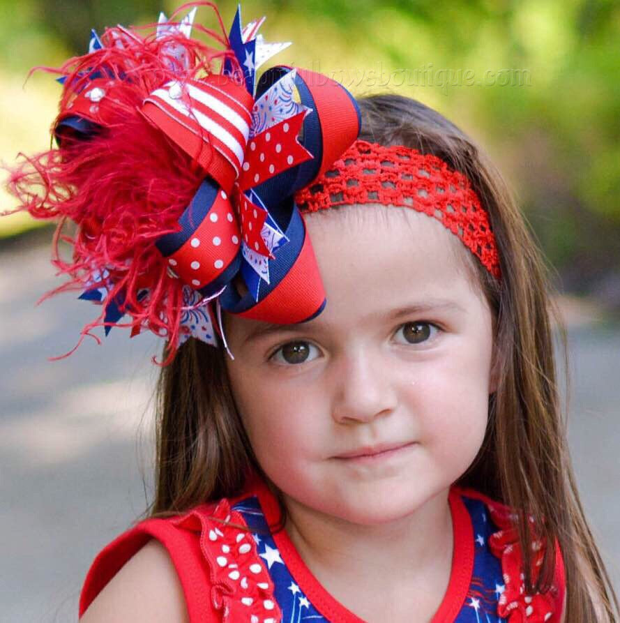 Girls Over the Top July 4th Bow Clip,Stacked 4th of July Hair Bow