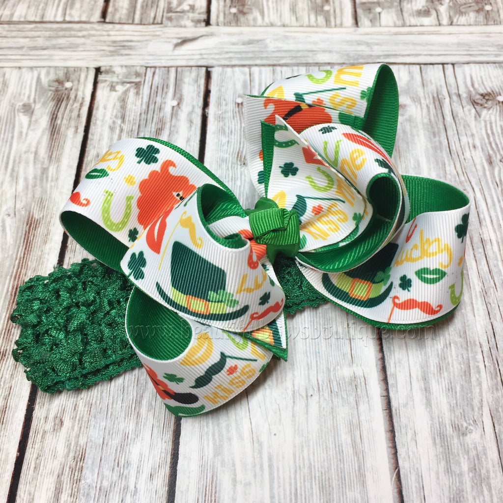 Saint Patricks Day Headband,Baby Headband,Infant Headband, Orange and Green Bow