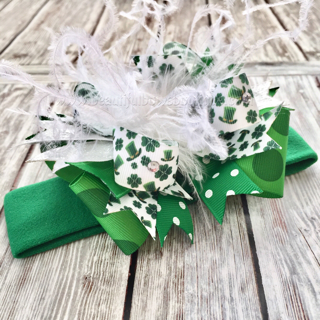 Buy Newborn St. Patrick's Day Bow Headband,Small Green Over the Top Hair Bow,Saint Patrick's Day Baby Headband,Baby Girl St. Patrick's Day Bows Online