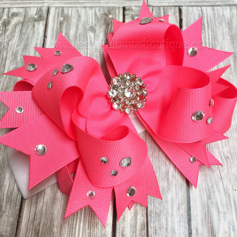 Buy Bright Pink Pageant Baby Headband, Hot Pink Over the Top Hair Bow with Bling Online