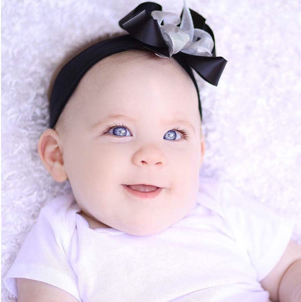 Silver and Black Satin Boutique Hair Bow Baby Infant Toddler Headband