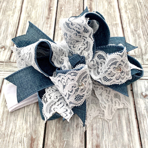 Buy Denim and Lace Hair Bow, Denim Hair Bow, Denim Lace Baby Headband Online