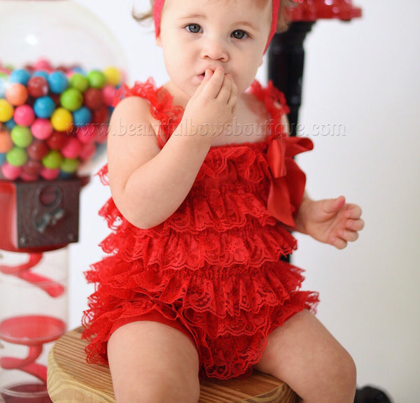 Red Lace Romper,Petti Lace Romper Red,Ruffle Red Baby Romper
