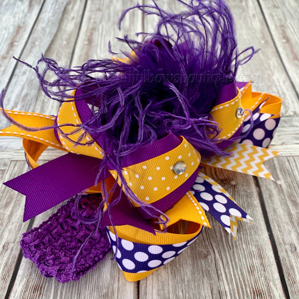 Buy Yellow Gold and Purple Hair Bow, School Uniform Hair Bows Online