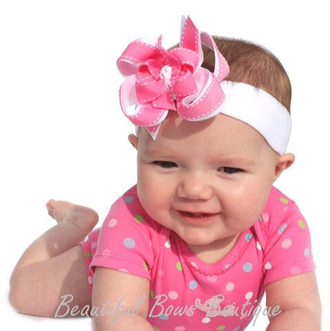 Dainty Pink & White Girls Hair Bow Clip or Headband