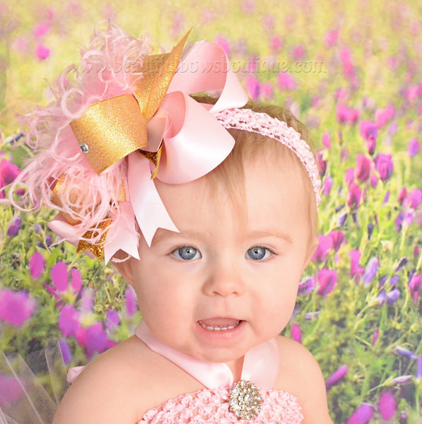Buy Pink and Gold 1st Birthday Over the Top Hair Bow Online