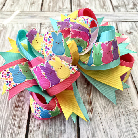 Easter Bunny Hair Bow,Peeps Hair Bow, Easter Boutique Headband