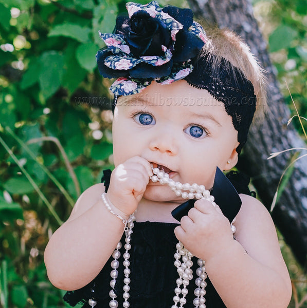 Buy Black Lace Romper and Floral Headband,Vintage Black Lace Romper Online