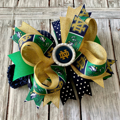 Notre Dame Hair Bow Gold Navy Blue Green, Notre Dame Baby Headband