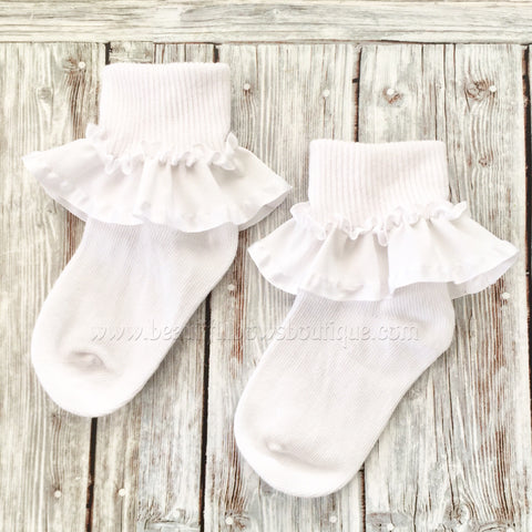 White Baby Socks,Ribbon Ruffle Socks,Little Girl or Baby Gift
