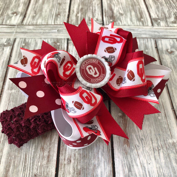 Buy OU Sooners Hair Bow Boomer Sooners Baby Headband Online