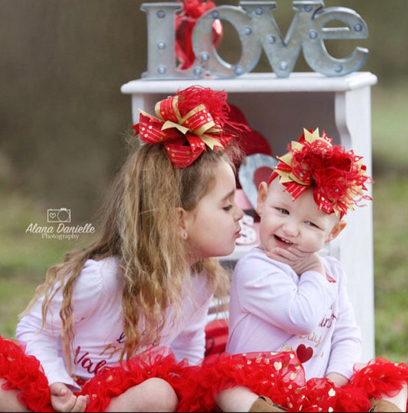 Girls Red and Gold Valentines Hair Bow,Valentine's Day Over the Top Bows,OTT Stacked Valentines Baby Headband,Big Bows,Big Red and Gold Bow