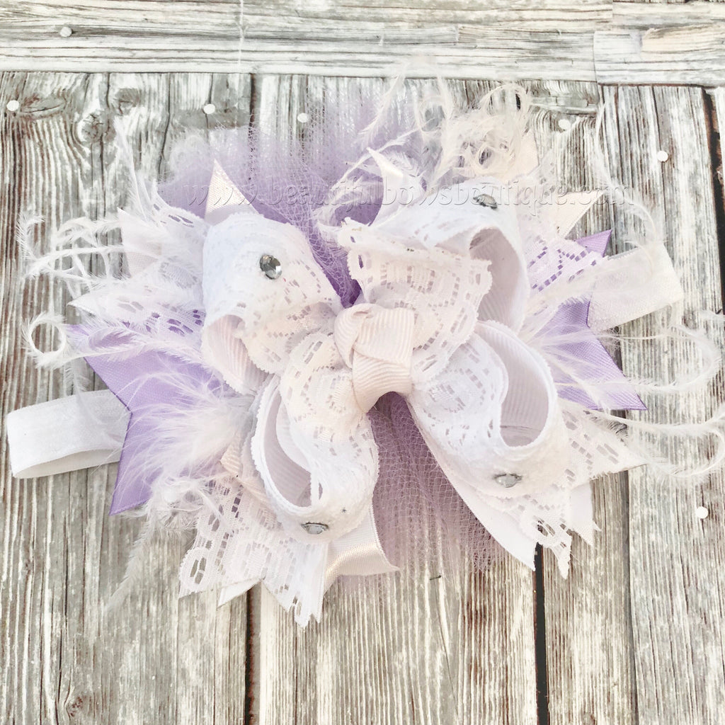Small Newborn Lavender and White Over the Top Hair Bow,Newborn Baby