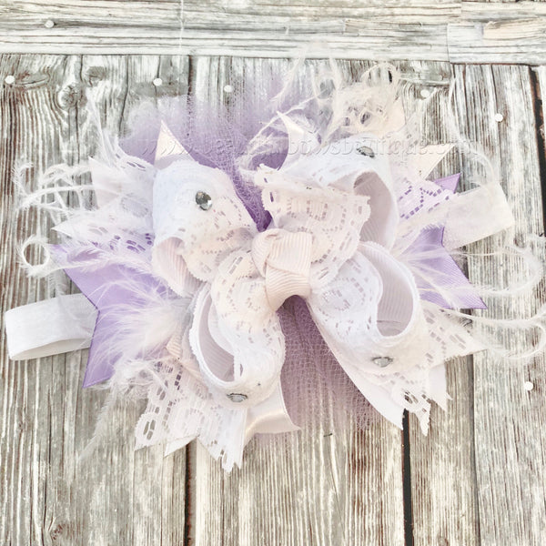 Buy Small Newborn Lavender and White Over the Top Hair Bow,Newborn Baby Online
