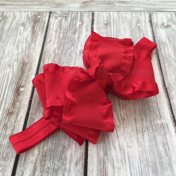Red baby headband,double ruffle bows,infant headband