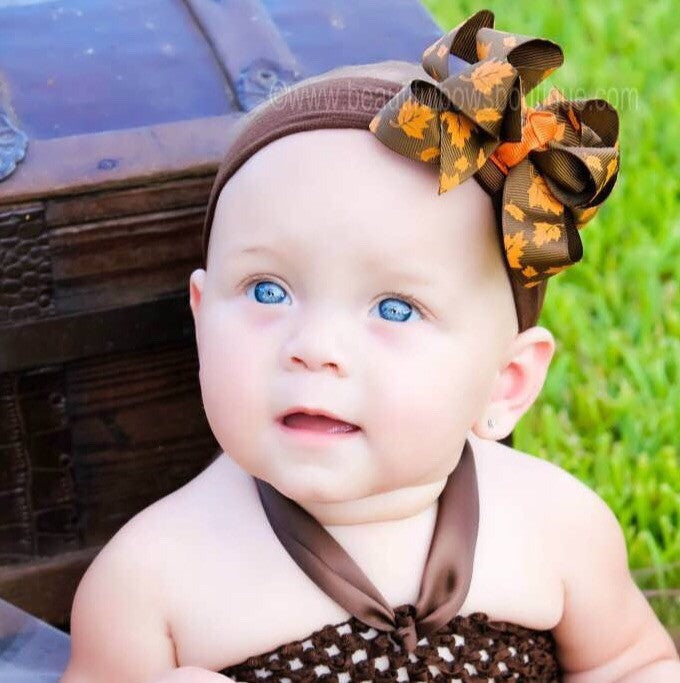 Dainty Fall Brown Orange Leaves Baby Girl Headband